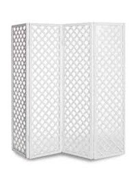 White Lattice Folding Screen