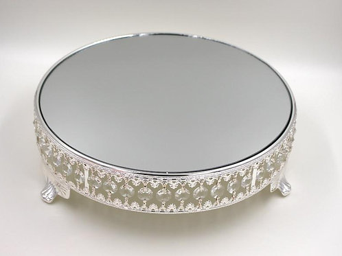 "12"" Silver Round Cake Stand with Mirror"