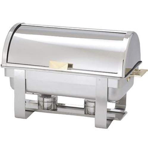 Stainless Steel Chafing Dish with Rolling Lid - 8qt