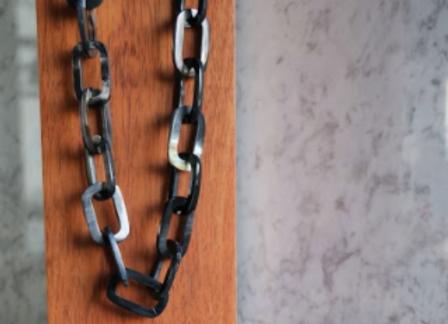 Collar eslabones de cuerno rectangulares