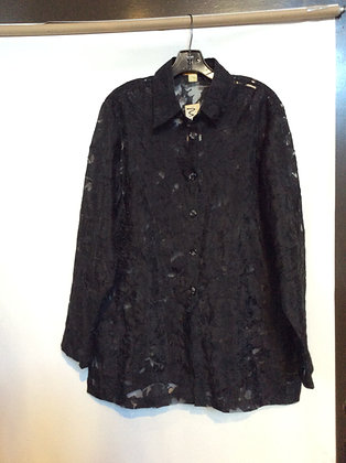 NWT 1X beautiful See through black blouse by Sukik