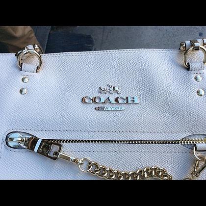 White leather Coach purse