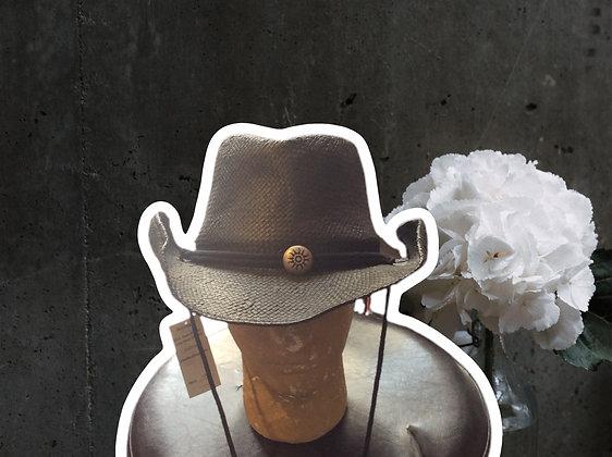 Black straw cowboy hat with a sun emblem by Scala
