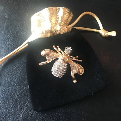 Bee Brooch gold and bling bling