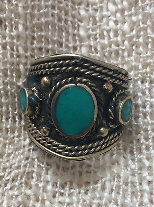hand made one size unisex malachite ring