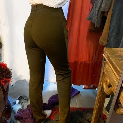 Green Designer Suede Pants
