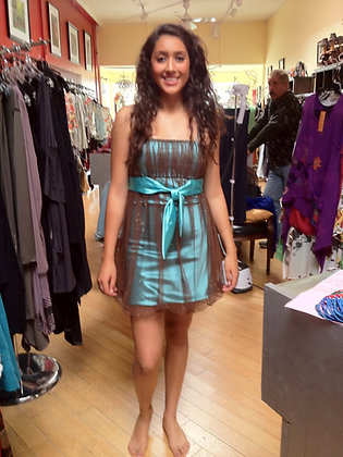Teal color short dress