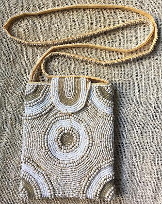 beautiful beaded tan small bag