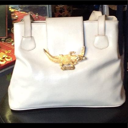 White Fendi Italian Made Leather Purse