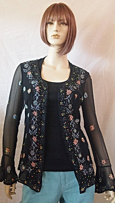 Black embezzled cardigan size small/medium