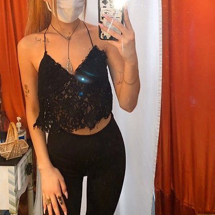 Zara black lace cami tank top crop top. Perfect for layering, or a cute summer d