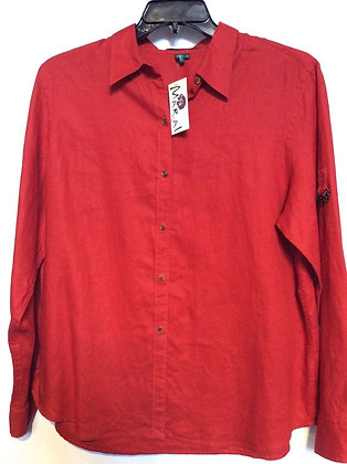 NWT SZ XL 100% Linen Buttoned Up Shirt with A Gorgeous Red Color by Ralph Lauren