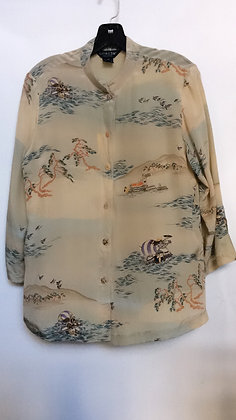 NWT size M 100% Silk blouse by citron of Santa Monica with hand painted prints