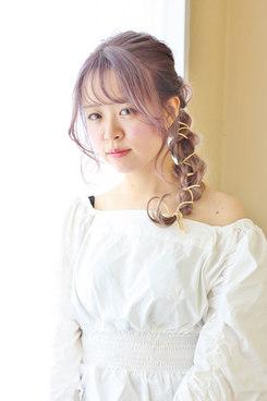 コットンキャンディピンクラベンダー☆革ひもヘアアレンジ