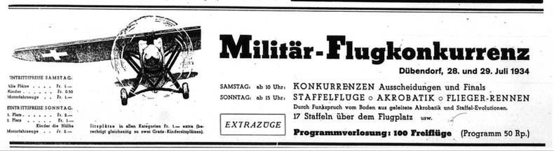 Militärflugkonkurrenz Anzeige in der NZZ vom 28. Juli 1934