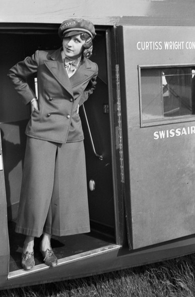 Nelly Diener am Presseflug, 24. April 1934