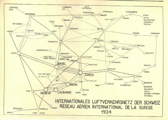 Internationales Luftverkehrsnetz der Schweiz 1934