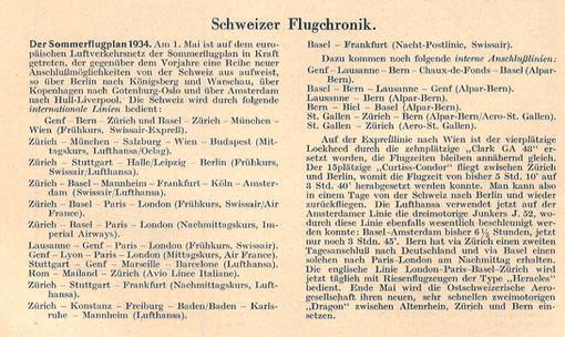 Sommerflugplan Aero Revue No 5, Mai 1934, S.104