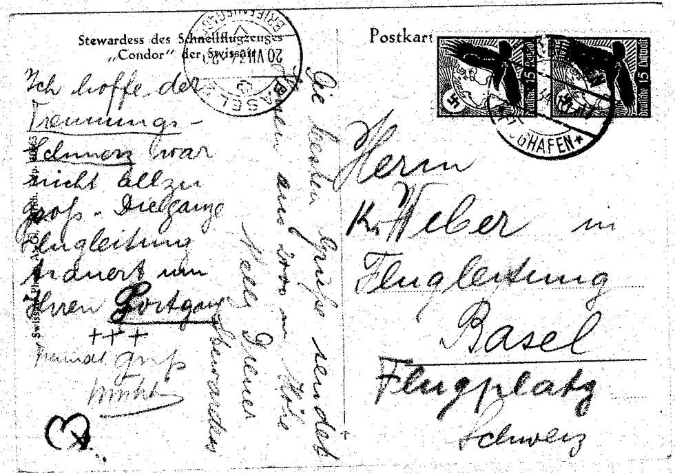 Postkarte an Kurt Weber, unterzeichnet von Armin Mühlematter und Nelly Diener, sieben Tage vor dem Absturz in Tuttlingen.