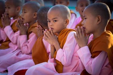 Praying girls, Myanmar