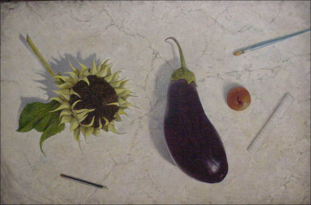 STILL LIFE WITH EGGPLANT AND SUNFLOW