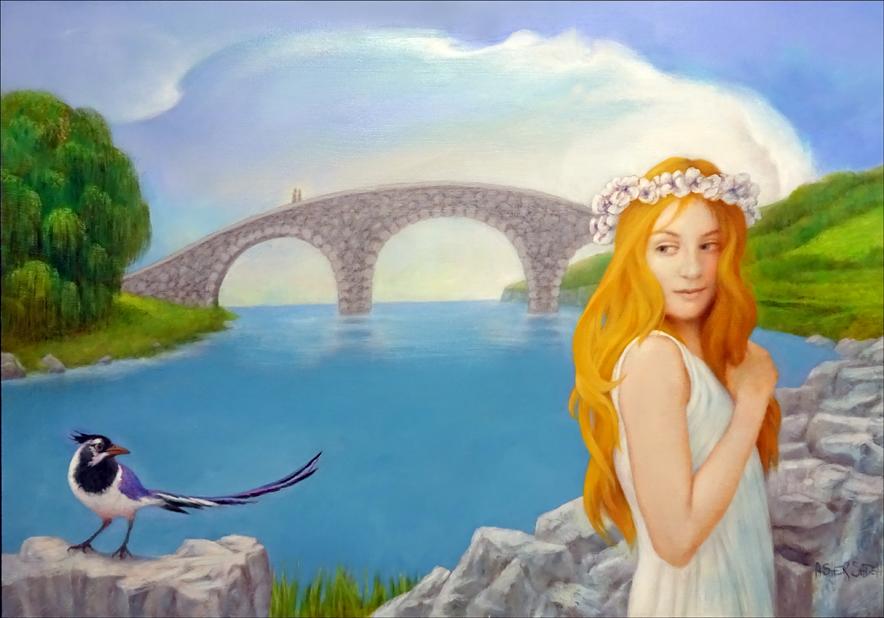 GIRL, BRIDGE & BIRD 24X36