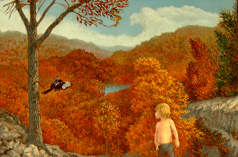 CHILD AND MAGPIE 24 X 36