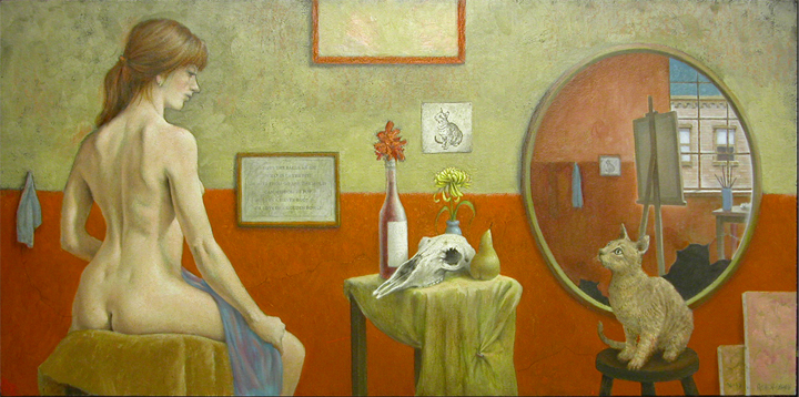 MODEL WITH STILL LIFE AND CAT 24X48