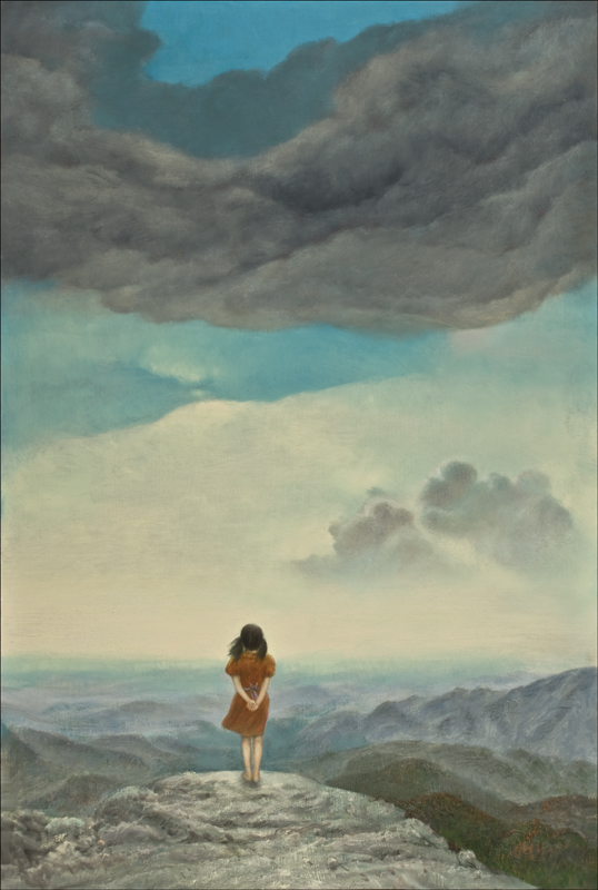 GIRL & MOUNTAINS 24 x 36 (sold)