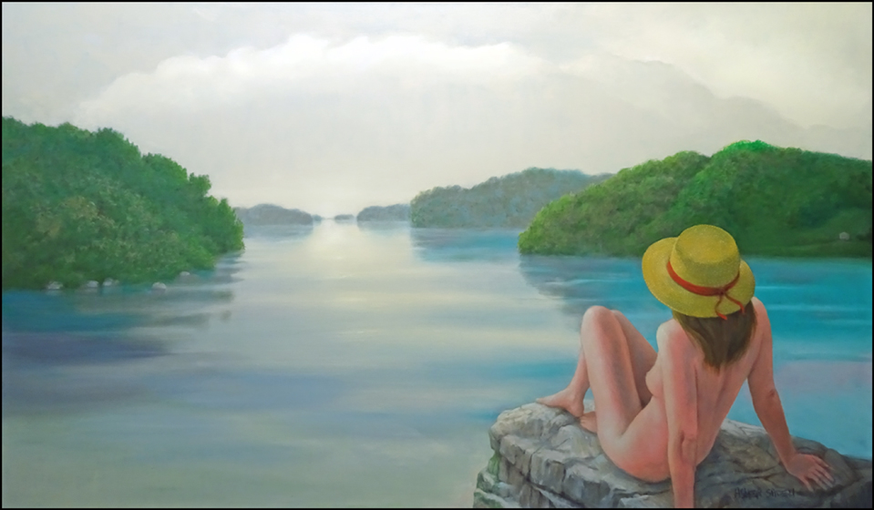 NUDE WITH HAT  BY A LAKE 36X60