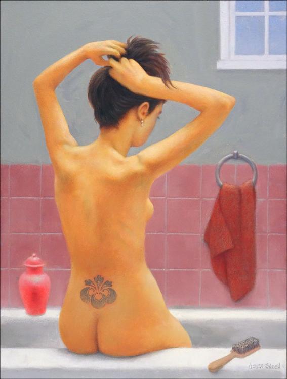 WOMAN SITTING ON A BATHTUB 24X18
