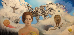 DAYDREAM WITH SNAIL & LION 24X48