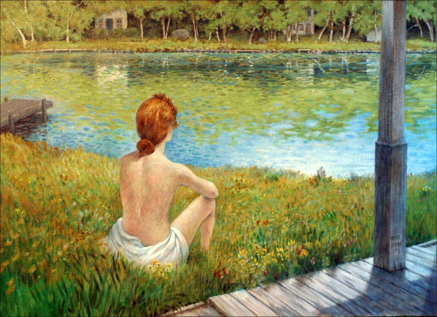 WOMAN BY A LAKE 24x36