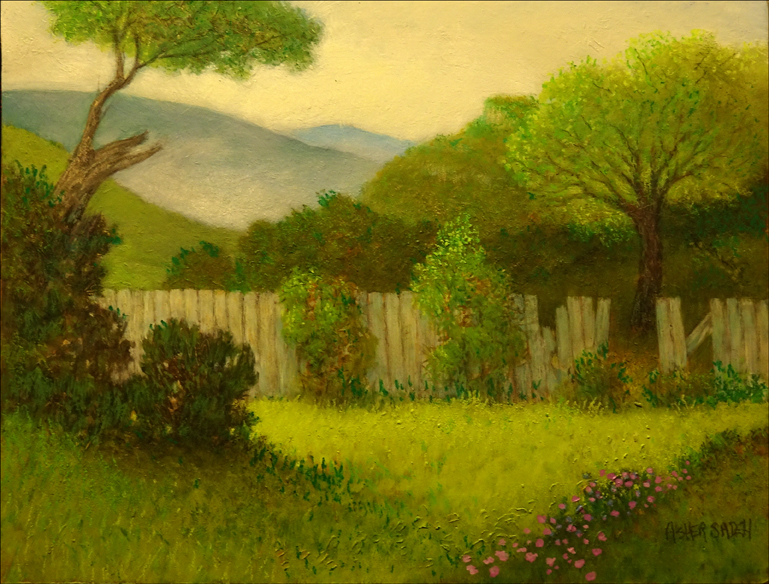 LANDSCAPE WITH OLD FENCE 14X18