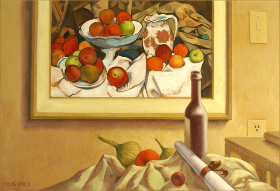 STILL LIFE WITH CEZANNE PAINTING 24X36
