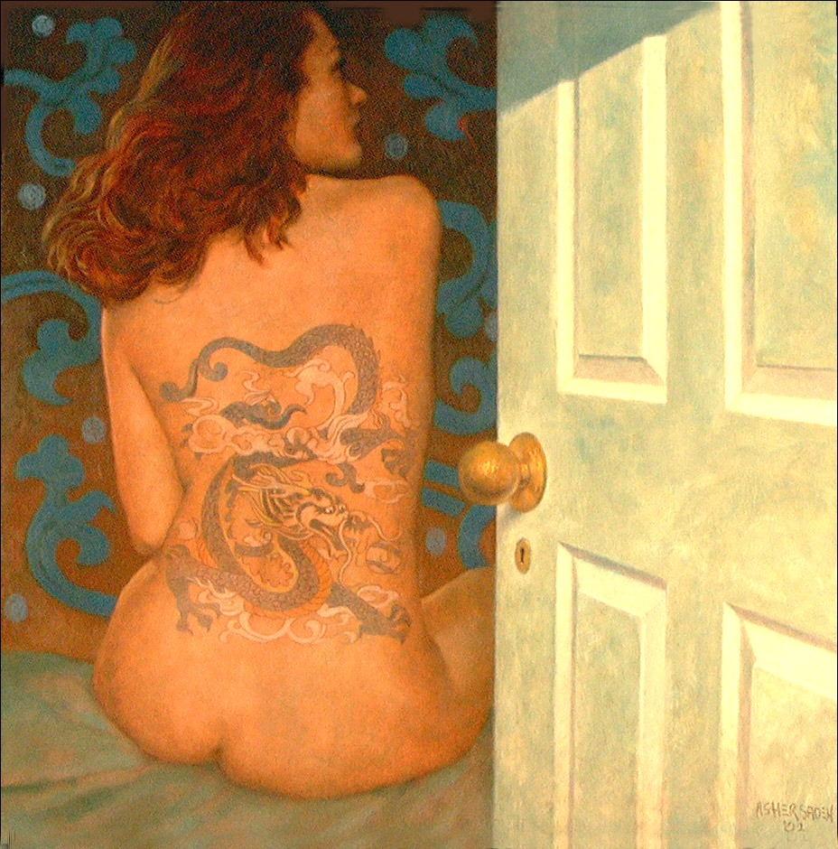 WOMAN, TATOO & DOOR 36x36 (sold)