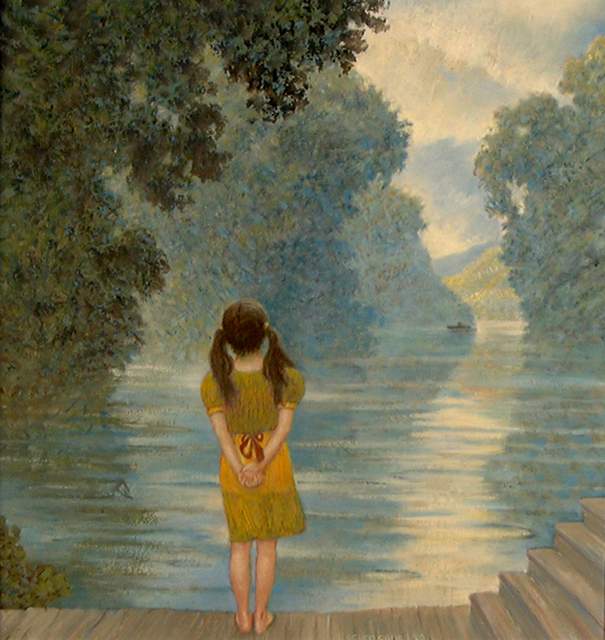GIRL ON A DOCK 24 X 18