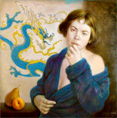 MODEL WITH DRAGON 24X24 (sold)