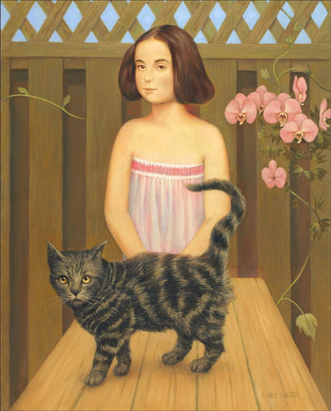 GIRL, CAT & PICNIC TABLE 30X24