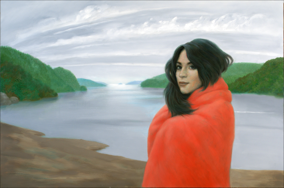 WOMAN WITH RED BLANKET 24X36