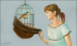 "GIRL WITH BIRDCAGE 22"" X 36"""
