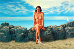 NUDE WITH DOVES BY THE SEA 24X36