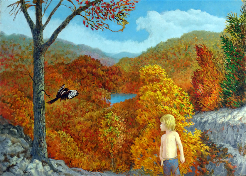 LANDSCAPE WITH CHILD AND MAGPIE 24X36