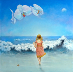 GIRL AND WAVES 24X24
