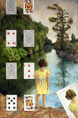 GIRL AND PLAYING CARDS 36x24