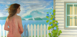 WOMAN, FENCE & COTTAGE 30x60