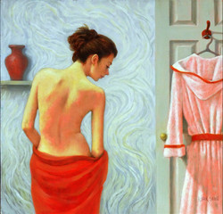 WOMAN & WHITE BATHROBE 20x20