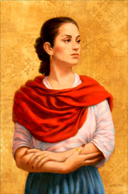 WOMAN WITH RED SHAWL 27X24