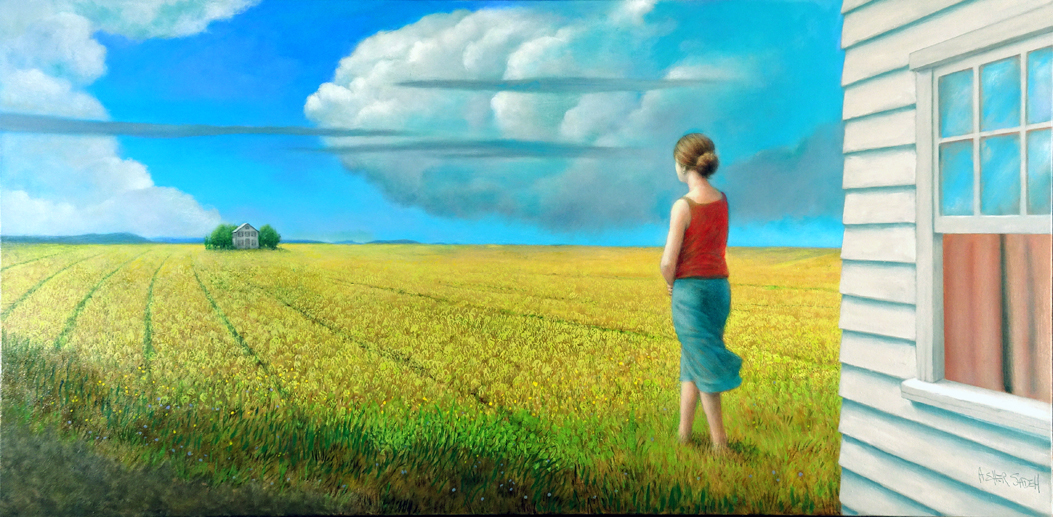 WOMAN, HOUSE & FIELD 30x60