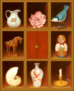 """OBJECTS ON SHELVES 30"""" X 24"""""""